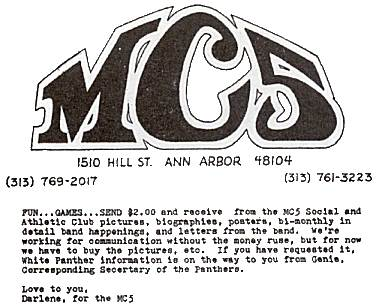 """Copy of only surviving piece of correspondence I have left from MC5 and WPP, circa '69 or '70. (Buttons and stacks of propaganda I traded and sold to a collector in NYC in late-Seventies.) "" - TOM BRINKMANN"